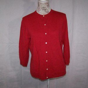 Investments Sweater L Cashmere Red Button Front